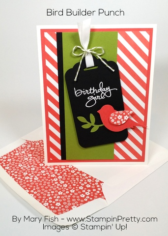 Stampin Up Birthday Card Idea Bird Builder Punch Mary Fish Pinterest