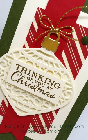 Stampin Up Delicate Ornament Thinlits Dies Christmas Card Idea by Mary Fish Gold Cording Trim