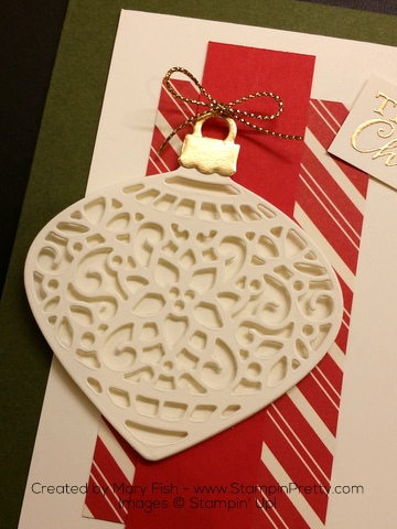 Stampin Up Delicate Ornament Thinlits Dies Christmas Card Idea by Mary Fish Unassembled