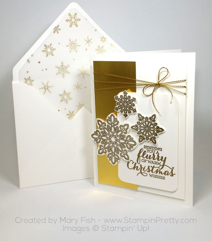 Stampin Up Flurry of Wishes Snow Flurry Punch Christmas Card Mary Fish Envelope Punch Board