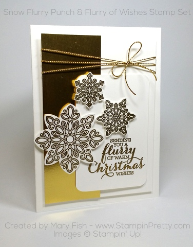 Stampin Up Flurry of Wishes Snow Flurry Punch Christmas Card Mary Fish Pinterest