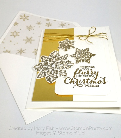 Stampin Up Flurry of Wishes Snow Flurry Punch Christmas Card Mary Fish Winter Wonderland Vellum