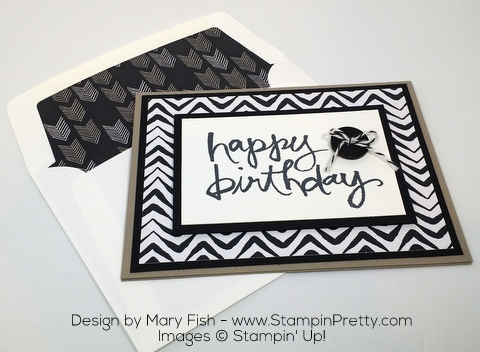 Stampin Up Masculine Birthday Card Watercolor Words by Mary Fish Envelope