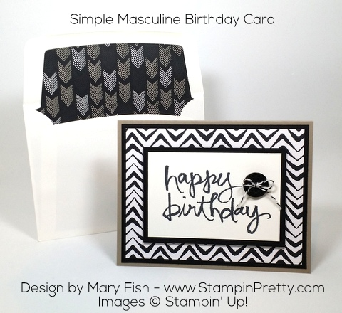 Stampin Up Masculine Birthday Card Watercolor Words by Mary Fish Pinterest