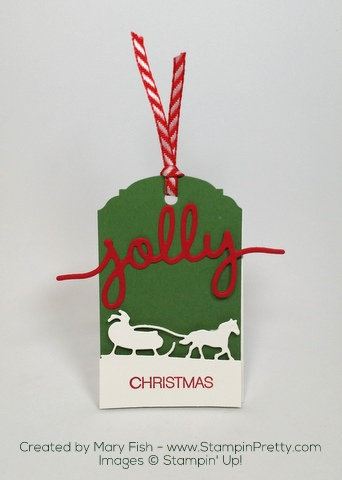 Stampin Up Sleigh Ride Edgelits Dies Christmas Holiday Tags by Mary Fish Jolly