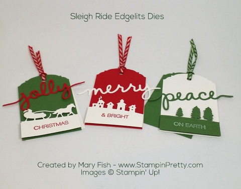 Stampin Up Sleigh Ride Edgelits Dies Christmas Holiday Tags by Mary Fish Pinterest