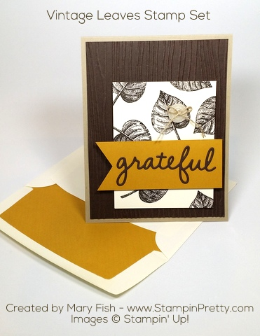 Stampin Up Vintage Leaves Autumn Card by Mary Fish Pinterest