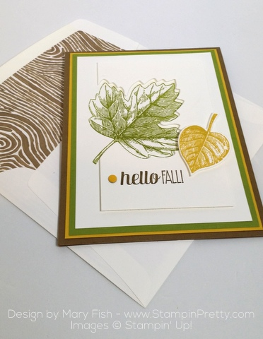 Stampin Up Vintage Leaves Leaflits Framelits Dies Mary Fish Stampin Pretty Autumn Card Envelope
