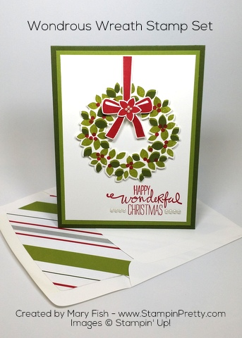 Stampin' Up! Wondrous Wreath Christmas Holiday Card Ideas by Mary Fish Pinterest
