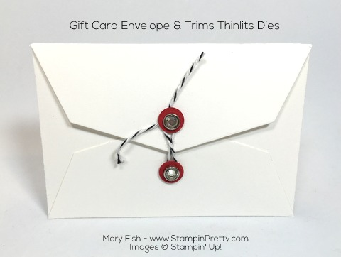 Stampin Up Gift Card Envelope Trims Thinlits Dies Idea Back by Mary Fish