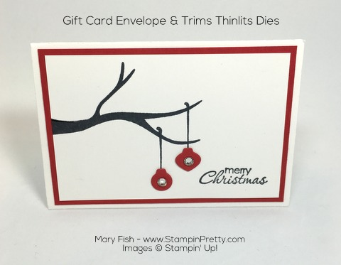 Stampin Up Gift Card Envelope Trims Thinlits Dies Idea by Mary Fish Pinterest