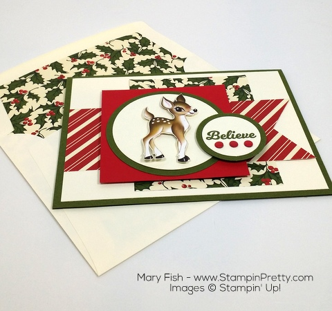 Stampin Up Home for Christmas Holiday Card Idea By Mary Fish Envelope
