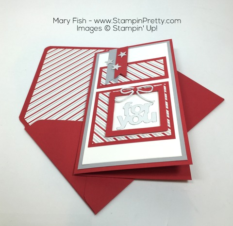 Stampin Up Mini Treat Bag Thinlits Dies Christmas Card by Mary Fish Envelope Liner