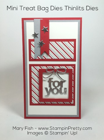 Stampin Up Mini Treat Bag Thinlits Dies Christmas Card by Mary Fish Pinterest