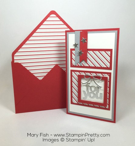 Stampin Up Mini Treat Bag Thinlits Dies Christmas Card by Mary Fish
