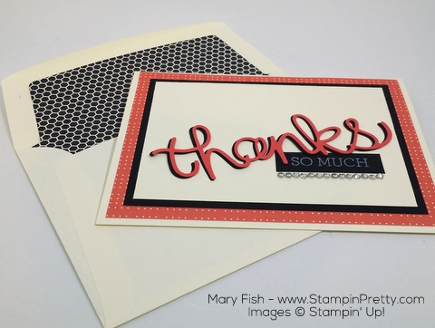 StampinUp Thank You Card Hello You Thinlits Dies By Mary Fish Envelope