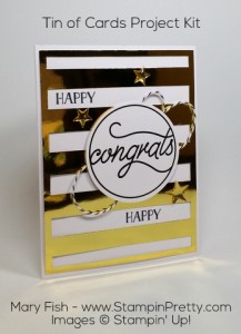 StampinUp Tin of Cards Project Kit Congrats Gold Foil by Mary Fish