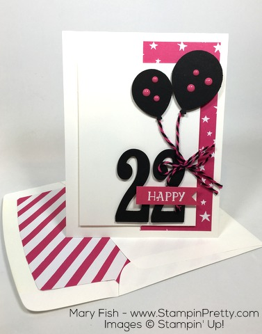 Stampin Up Balloon Builder Punch Birthday Card Idea By Mary Fish Envelope Liner