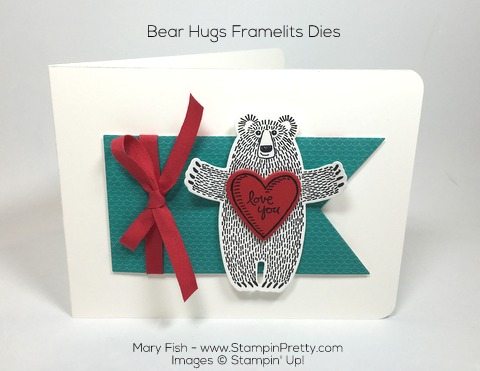 Stampin Up Bear Hugs Framelits Dies Valentine Love Card by Mary Fish Pinterest