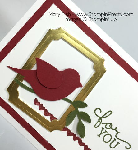 Stampin Up Bird Builder Punch Birthday Blooms Card Gold Frame By Mary Fish
