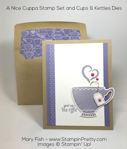 Stampin Up! Nice Cuppa Cups Kettle Framelits Die Card Idea by Mary Fish Pinterest