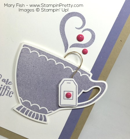 Stampin Up! Nice Cuppa Cups Kettle Framelits Die Cards Idea by Mary Fish