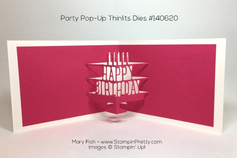 Stampin Up Party with Cake Party Pop-Up Thinlits Dies Birthday Card By Mary Fish Pinterest