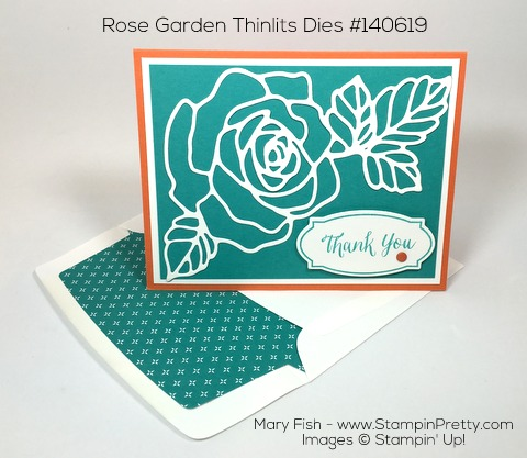 Stampin Up Rose Wonder Rose Garden Thinlits Dies Thank You Card By Mary Fish Pinterest