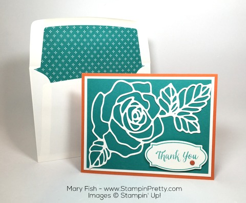 Stampin Up Rose Wonder Rose Garden Thinlits Dies Thank You Card By Mary Fish StampinUp