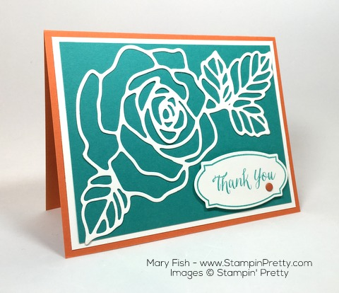 Stampin Up Rose Wonder Rose Garden Thinlits Dies Thank You Card By Mary Fish