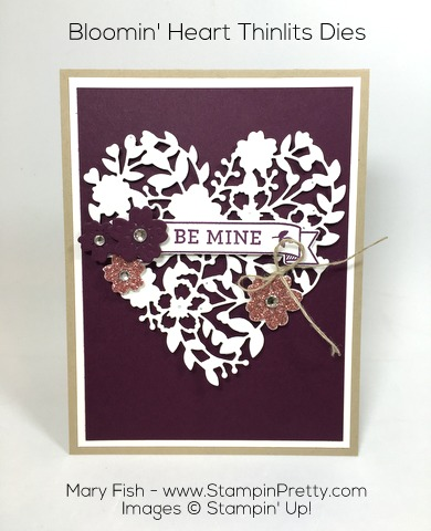 Stampin Up Valentines Day Bloomin Heart Thinlits Dies By Mary Fish Pinterest