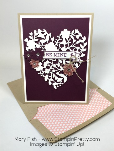Stampin Up Valentines Day Bloomin Heart Thinlits Dies Envelope Liner By Mary Fish