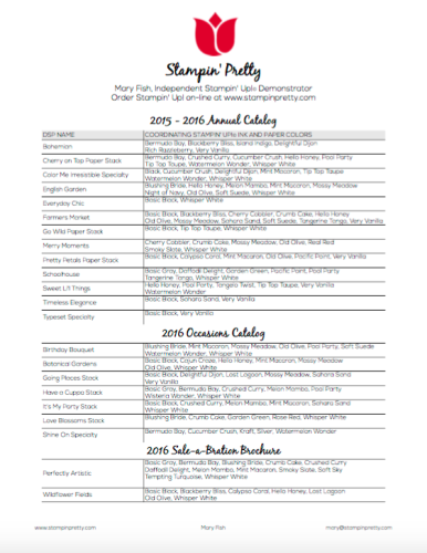 Designer Series Paper Chart StampinUp