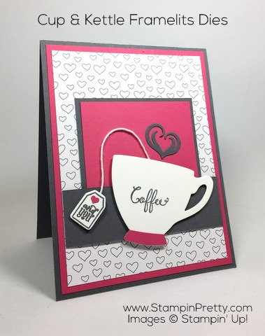 Simple valentine card & envelope ideas using Stampin Up Cups & Kettle Framelits Dies by Mary Fish