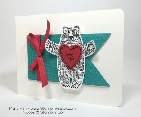 Stampin Up Bear Hug Framelits Dies Valentine Love Card by Mary Fish