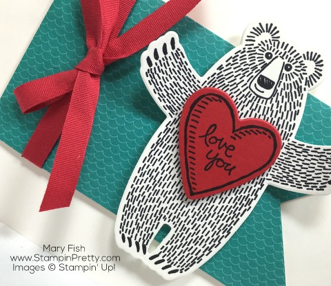 Stampin Up Bear Hugs Framelits Dies Valentine Love Card by Mary Fish Heart
