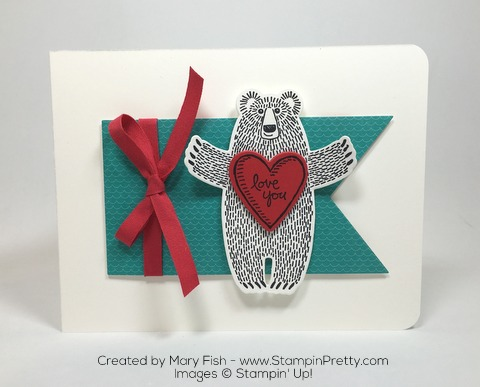 Stampin Up Bear Hugs Framelits Dies Valentine Love Card by Mary Fish