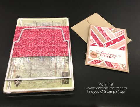 Stampin Up First Sight Love Blossoms Designer Series Paper Valentine Card Idea By Mary Fish Envelope Liner