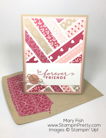 Stampin Up First Sight Love Blossoms Designer Series Paper Valentine Card Idea By Mary Fish Envelope