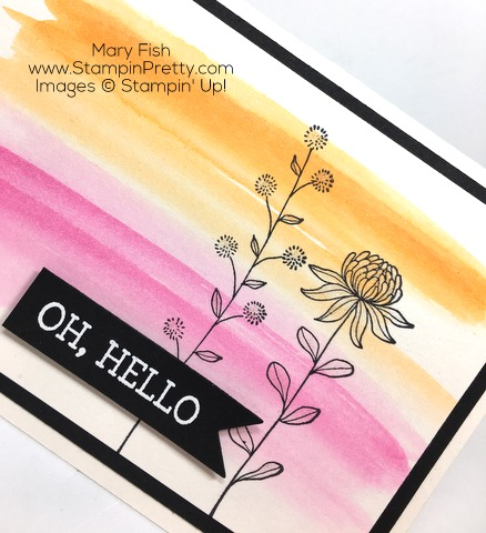 Stampin Up Flowering Fields Sale-A-Bration Hello Card By Mary Fish CloseUp