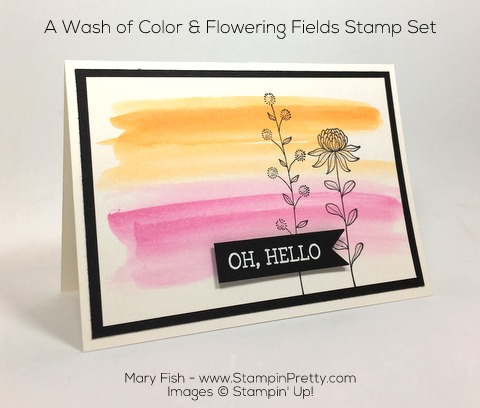 Stampin Up Flowering Fields Sale-A-Bration Hello Card By Mary Fish