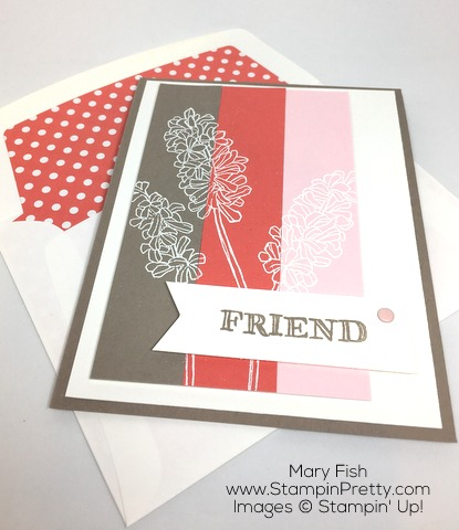 Stampin Up Helping Me Grow Friend Friendship Card By Mary Fish Envelope Liner