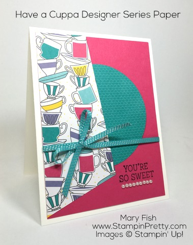 Stampin Up Nice Cuppa Thank You Card Idea By Mary Fish Pinterest