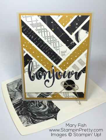 Stampin Up Salut Bonjour Card Idea by Mary Fish Lined Envelope