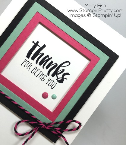 Stampin Up Suite Sayings Thank You Card By Mary Fish CloseUp