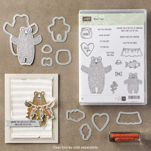 Stampin Up Bear Hugs Stamp Set Framelits Dies Bundle