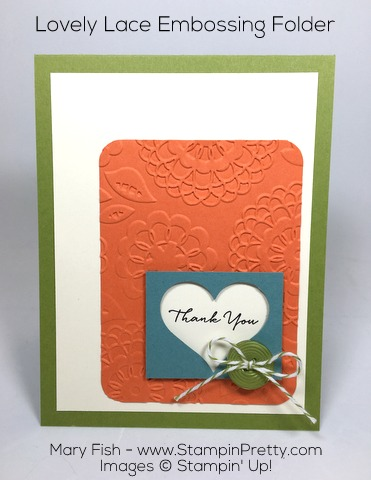 Beautifully embossed Stampin Up Lovely Lace envelope and thank you card by Mary Fish