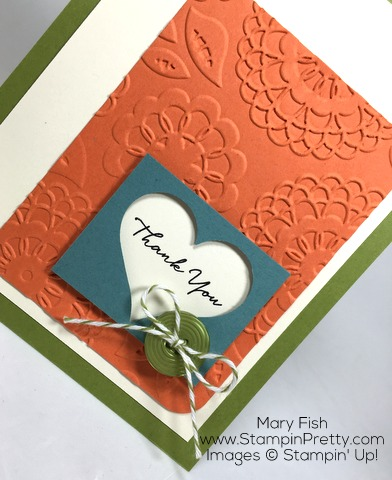 Beautifully embossed Stampin Up Lovely Lace envelope and thanks card by Mary Fish