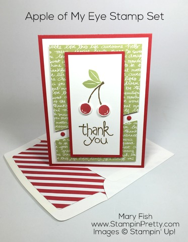 Create a thank you card with Stampin Up Apple of My Eye - Mary Fish