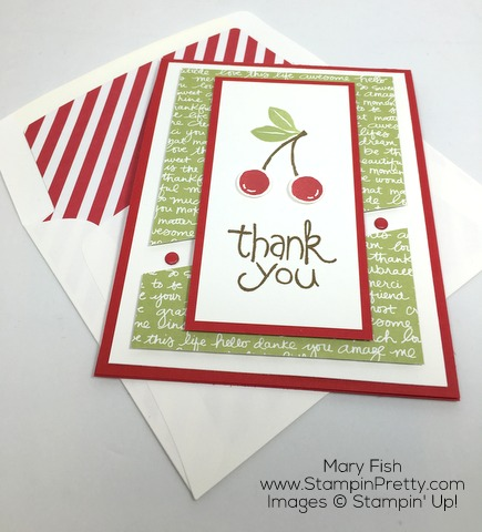 Create a thank you card with Stampin Up Apple of My Eye with lined envelope - by Mary Fish